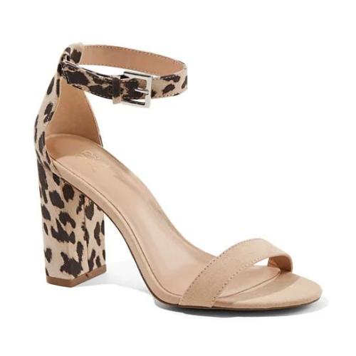 leopard ankle strap sandals